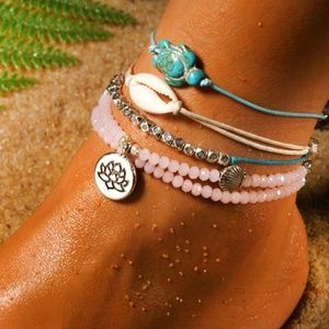 Jewelry - Anklet Set of 4 Turtle Shell Beads & Lotus Flower